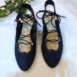 {Nine West} Leather Denim Navy Blue Lace Up Flats